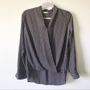 Pleione || Printed Cross Front Blouse Size M